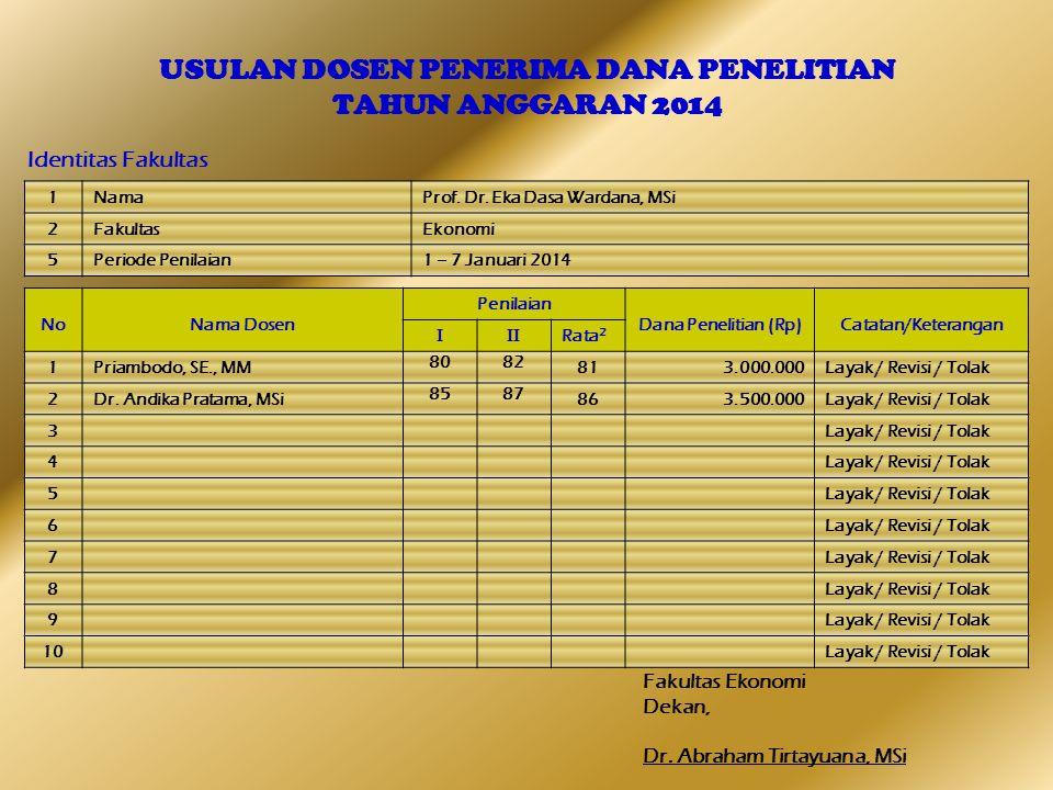 USULAN DOSEN PENERIMA DANA PENELITIAN TAHUN ANGGARAN 2014 Identitas Fakultas Fakultas Ekonomi Dekan, Dr.