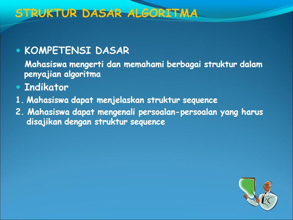STRUKTUR DASAR ALGORITMA KOMPETENSI DASAR Mahasiswa mengerti dan memahami berbagai struktur dalam penyajian algoritma Indikator 1.Mahasiswa dapat menjelaskan struktur sequence 2.