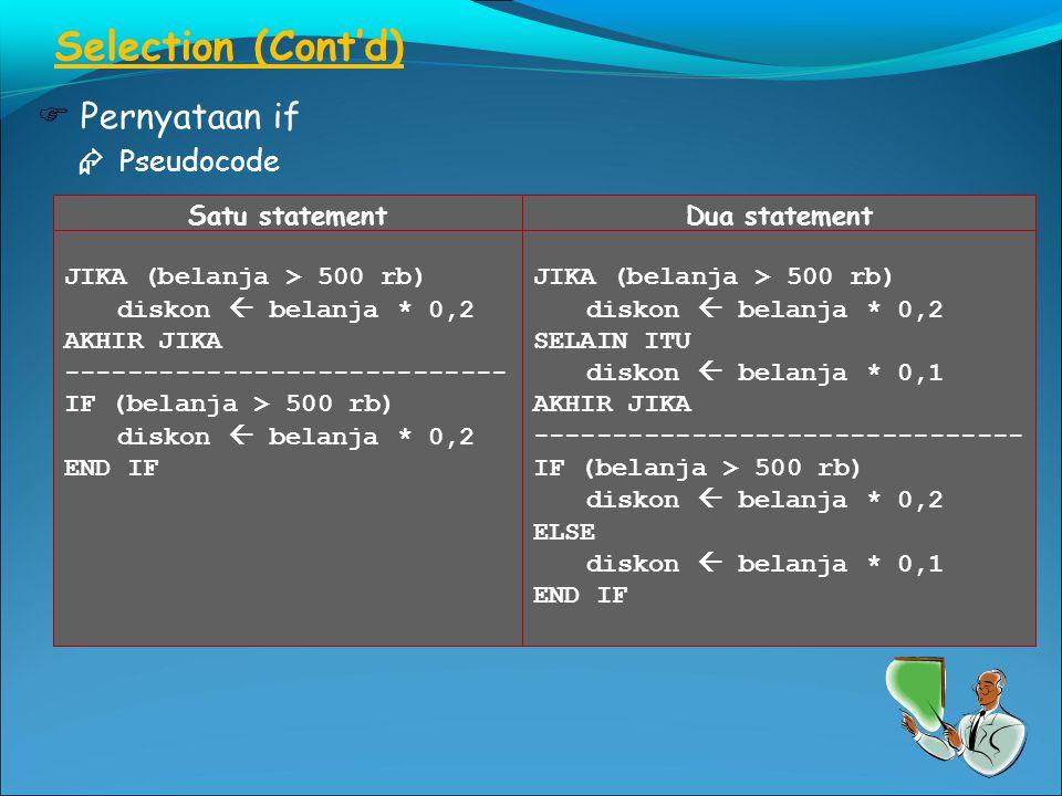 Selection (Cont'd)  Pernyataan if  Pseudocode Satu statement JIKA (belanja > 500 rb) diskon  belanja * 0,2 AKHIR JIKA ---------------------------- IF (belanja > 500 rb) diskon  belanja * 0,2 END IF Dua statement JIKA (belanja > 500 rb) diskon  belanja * 0,2 SELAIN ITU diskon  belanja * 0,1 AKHIR JIKA ------------------------------- IF (belanja > 500 rb) diskon  belanja * 0,2 ELSE diskon  belanja * 0,1 END IF