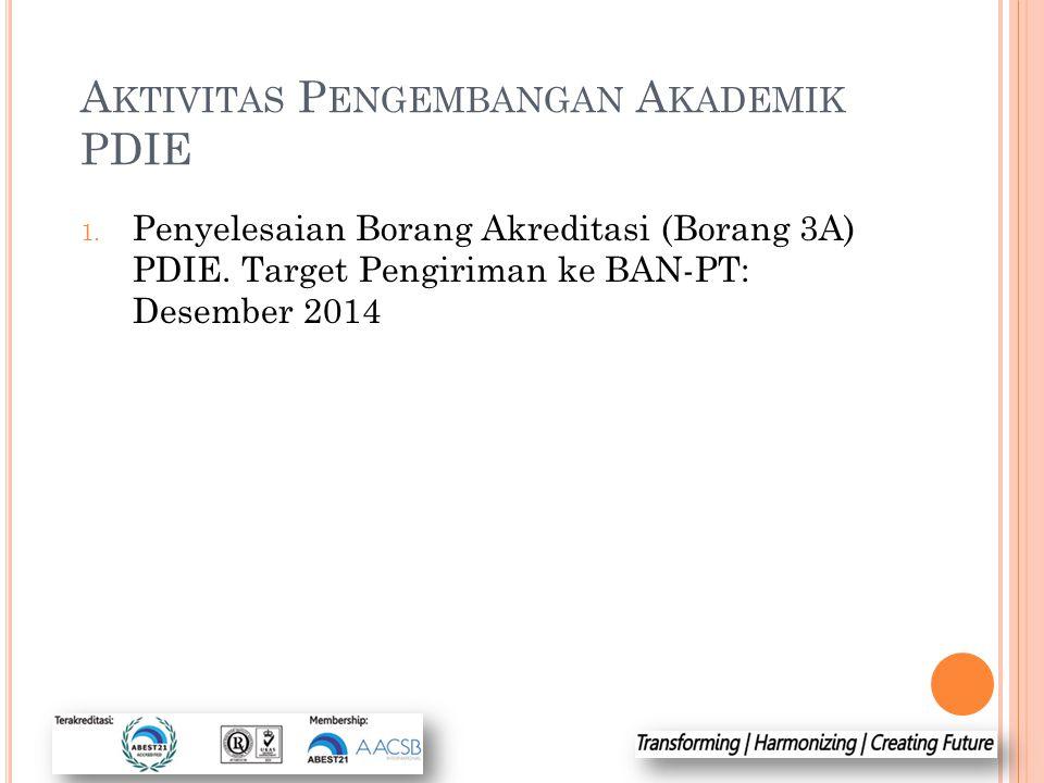 A KTIVITAS P ENGEMBANGAN A KADEMIK PDIE 1. Penyelesaian Borang Akreditasi (Borang 3A) PDIE. Target Pengiriman ke BAN-PT: Desember 2014