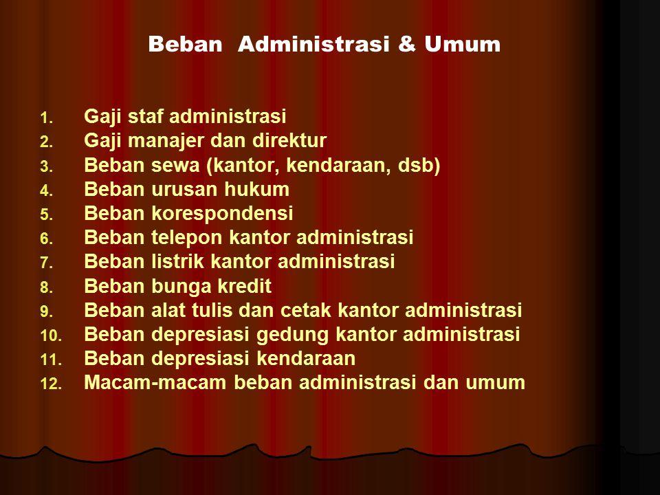 1. 1. Gaji staf administrasi 2. 2. Gaji manajer dan direktur 3. 3. Beban sewa (kantor, kendaraan, dsb) 4. 4. Beban urusan hukum 5. 5. Beban koresponde