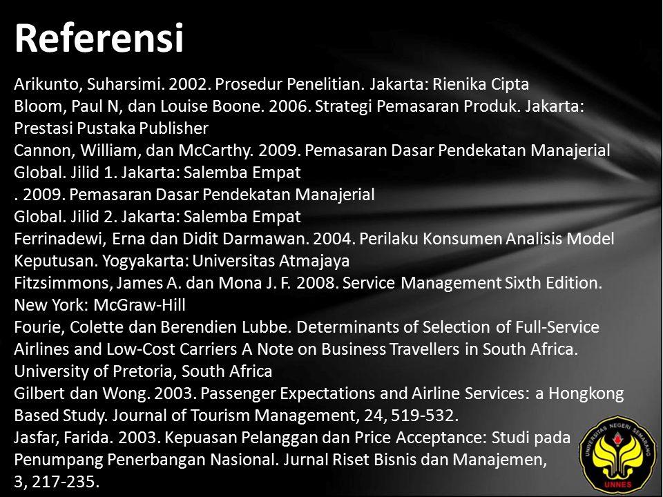 Referensi Arikunto, Suharsimi. 2002. Prosedur Penelitian. Jakarta: Rienika Cipta Bloom, Paul N, dan Louise Boone. 2006. Strategi Pemasaran Produk. Jak