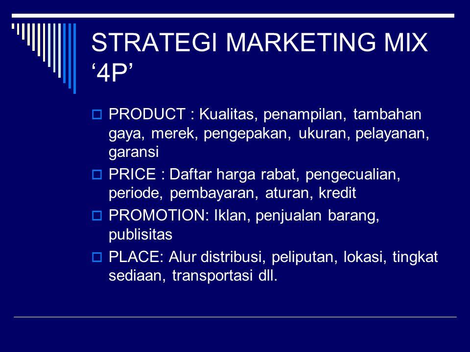 STRATEGI MARKETING MIX '4P'  PRODUCT : Kualitas, penampilan, tambahan gaya, merek, pengepakan, ukuran, pelayanan, garansi  PRICE : Daftar harga raba