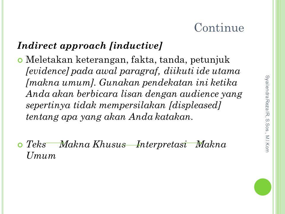 Continue Indirect approach [inductive] Meletakan keterangan, fakta, tanda, petunjuk [evidence] pada awal paragraf, diikuti ide utama [makna umum].
