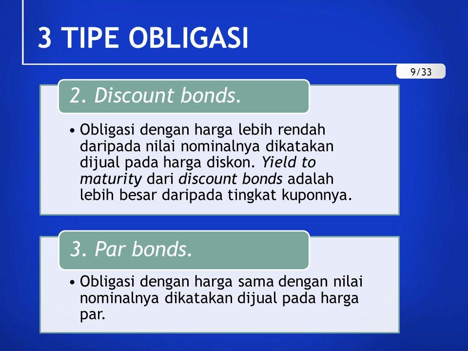 3 TIPE OBLIGASI Obligasi dengan harga lebih rendah daripada nilai nominalnya dikatakan dijual pada harga diskon. Yield to maturity dari discount bonds