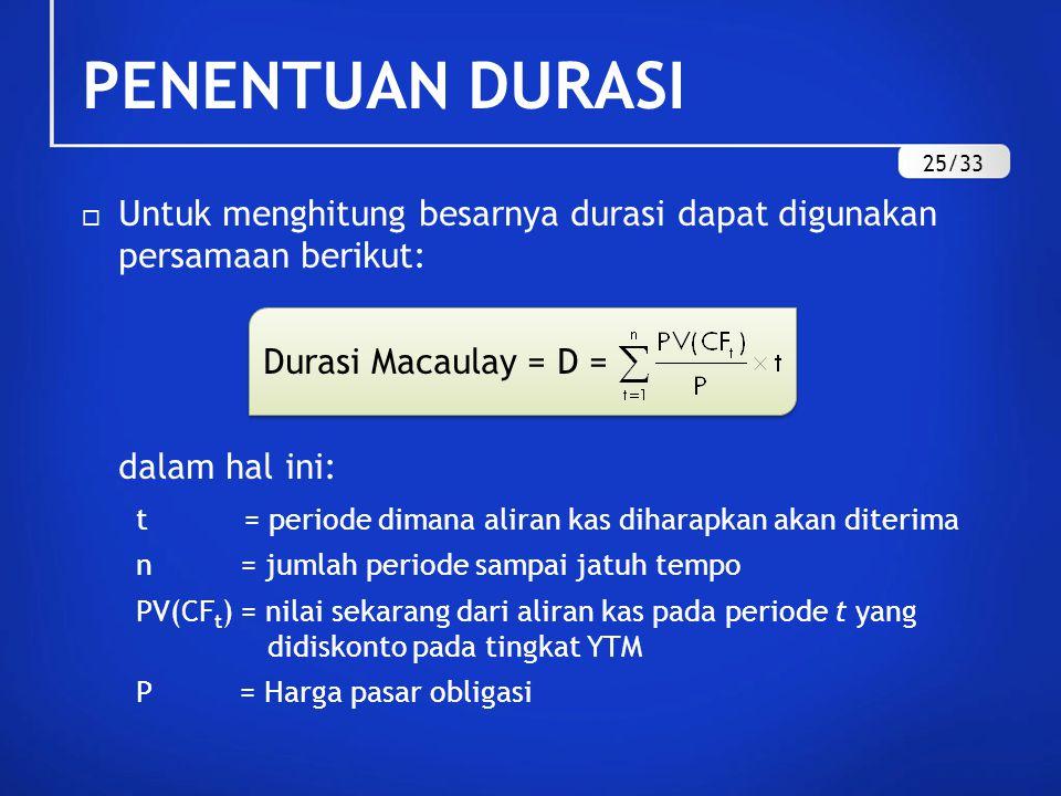  Untuk menghitung besarnya durasi dapat digunakan persamaan berikut: Durasi Macaulay = D = dalam hal ini: t = periode dimana aliran kas diharapkan ak