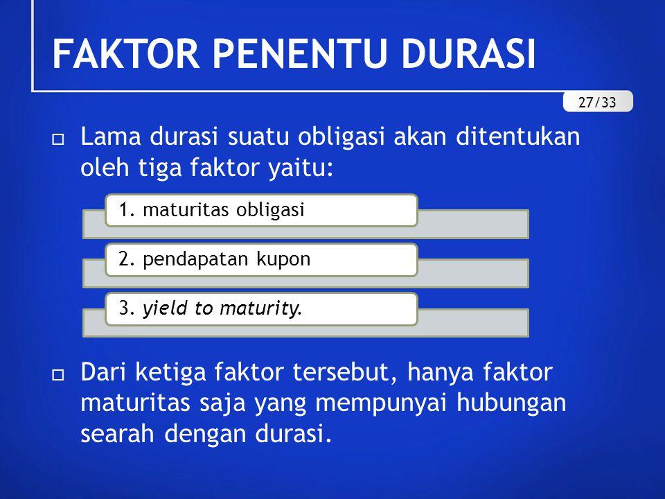 FAKTOR PENENTU DURASI  Lama durasi suatu obligasi akan ditentukan oleh tiga faktor yaitu:  Dari ketiga faktor tersebut, hanya faktor maturitas saja