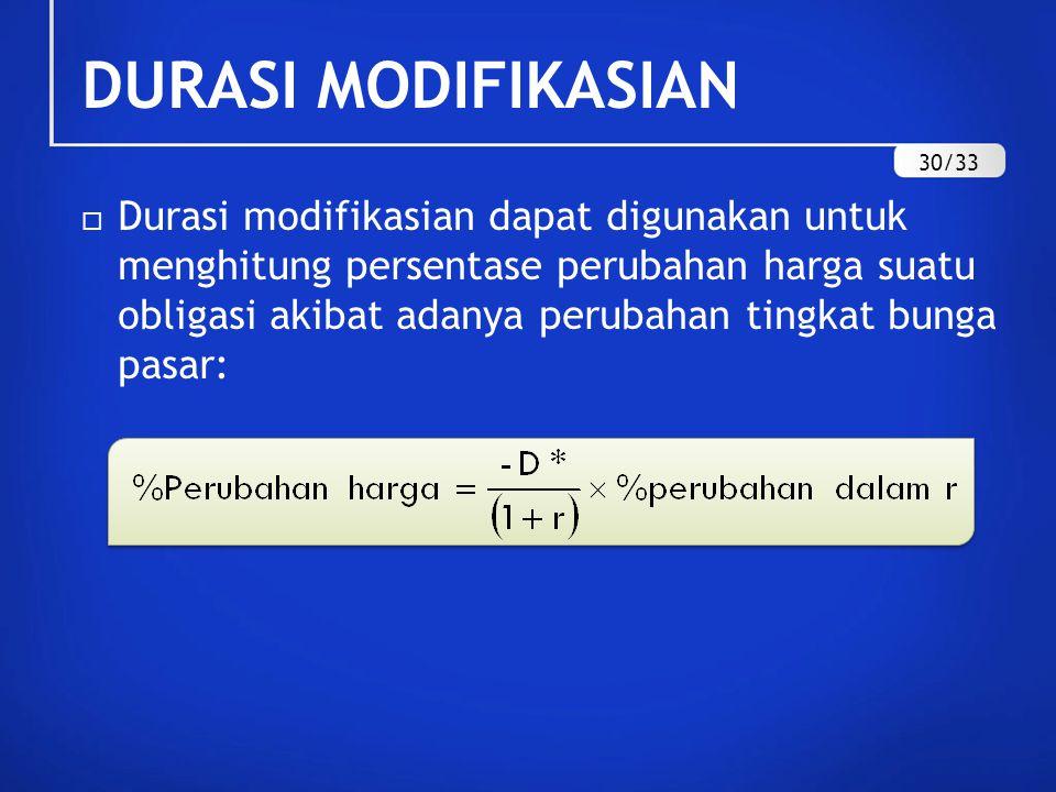  Durasi modifikasian dapat digunakan untuk menghitung persentase perubahan harga suatu obligasi akibat adanya perubahan tingkat bunga pasar: DURASI M