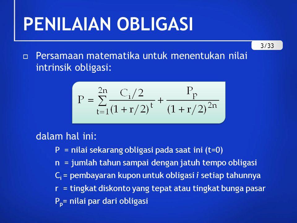 PENILAIAN OBLIGASI  Persamaan matematika untuk menentukan nilai intrinsik obligasi: dalam hal ini: P = nilai sekarang obligasi pada saat ini (t=0) n
