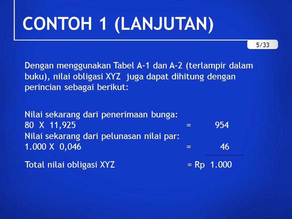 CONTOH 1 (LANJUTAN) Dengan menggunakan Tabel A-1 dan A-2 (terlampir dalam buku), nilai obligasi XYZ juga dapat dihitung dengan perincian sebagai berik