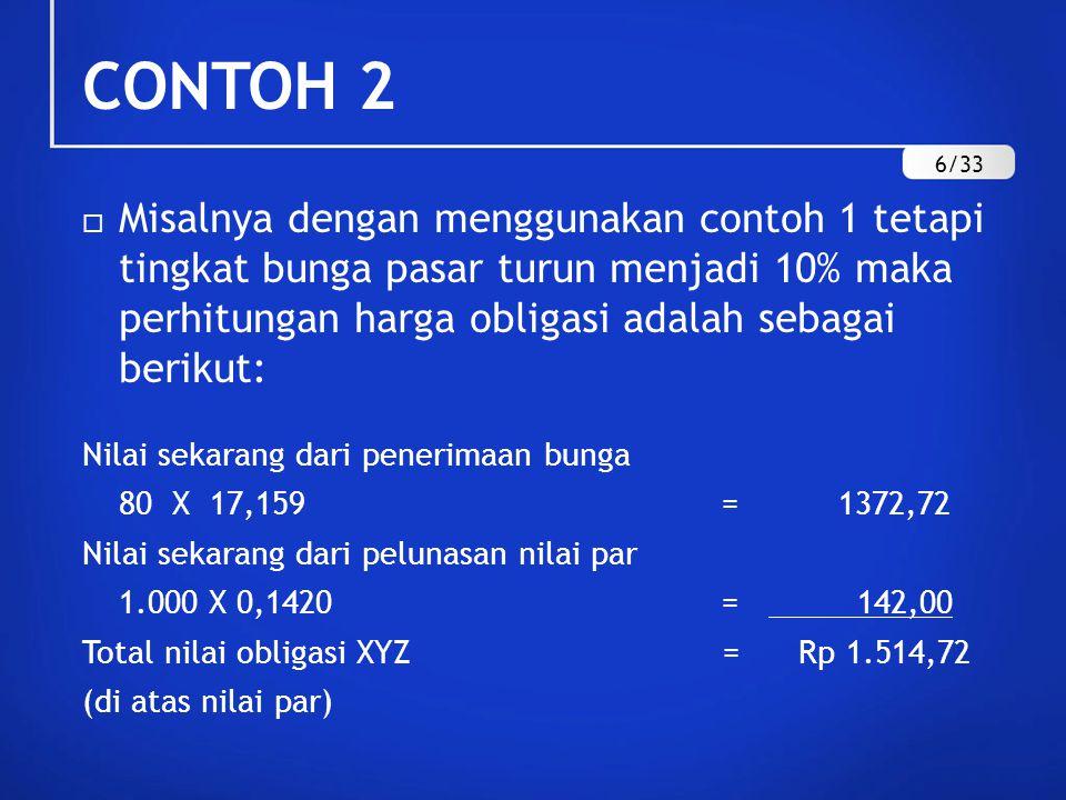 CONTOH 2  Misalnya dengan menggunakan contoh 1 tetapi tingkat bunga pasar turun menjadi 10% maka perhitungan harga obligasi adalah sebagai berikut: N