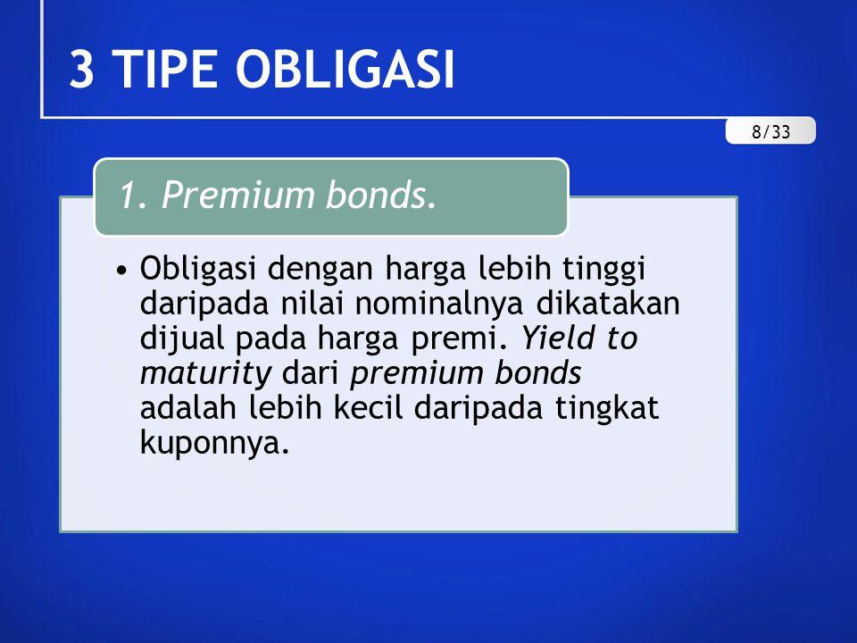 3 TIPE OBLIGASI Obligasi dengan harga lebih rendah daripada nilai nominalnya dikatakan dijual pada harga diskon.