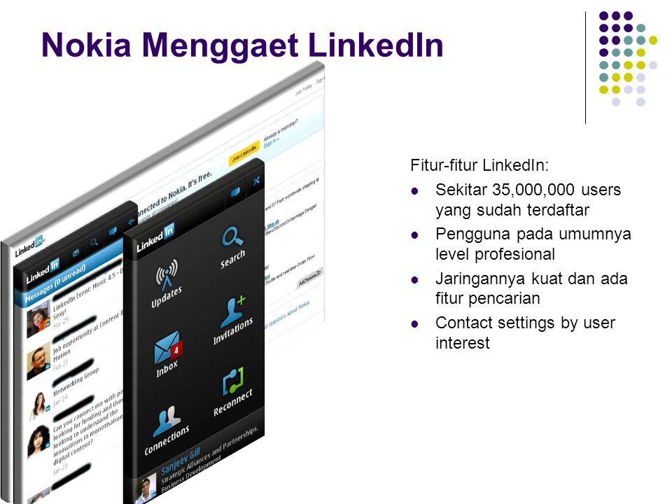 Nokia Menggaet LinkedIn Fitur-fitur LinkedIn: Sekitar 35,000,000 users yang sudah terdaftar Pengguna pada umumnya level profesional Jaringannya kuat dan ada fitur pencarian Contact settings by user interest