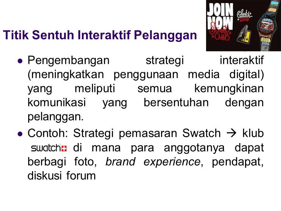 Pengembangan strategi interaktif (meningkatkan penggunaan media digital) yang meliputi semua kemungkinan komunikasi yang bersentuhan dengan pelanggan.