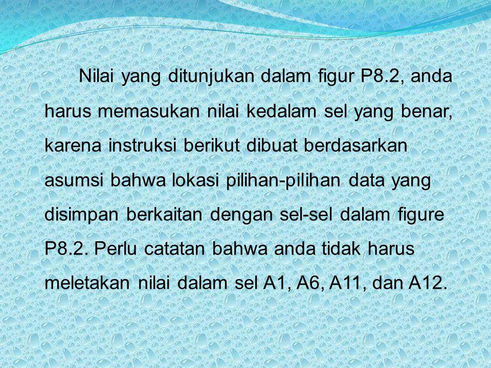 Nilai yang ditunjukan dalam figur P8.2, anda harus memasukan nilai kedalam sel yang benar, karena instruksi berikut dibuat berdasarkan asumsi bahwa lo
