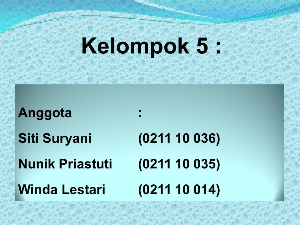 Kelompok 5 : Anggota: Siti Suryani(0211 10 036) Nunik Priastuti(0211 10 035) Winda Lestari(0211 10 014)