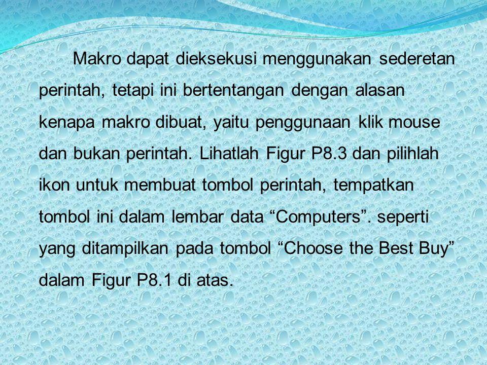 Makro dapat dieksekusi menggunakan sederetan perintah, tetapi ini bertentangan dengan alasan kenapa makro dibuat, yaitu penggunaan klik mouse dan buka