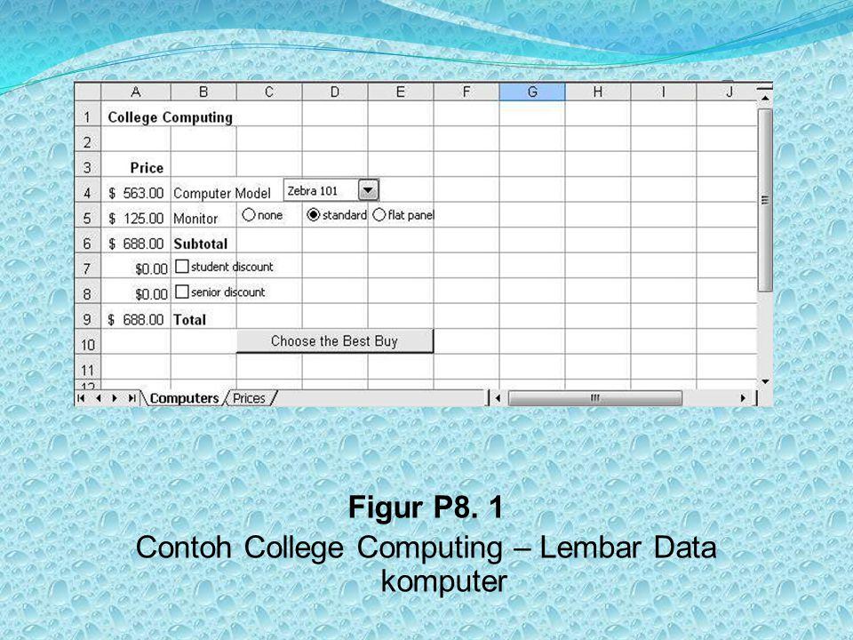 LEMBAR DATA HARGA Lembar data ''Prices'' memberikan informasi untuk menu drop-down, tombol radio, dan kotak cek.