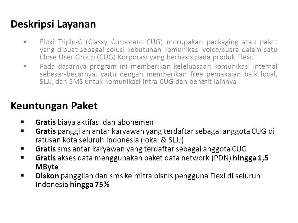 Deskripsi Layanan  Flexi Triple-C (Classy Corporate CUG) merupakan packaging atau paket yang dibuat sebagai solusi kebutuhan komunikasi voice/suara dalam satu Close User Group (CUG) Korporasi yang berbasis pada produk Flexi.