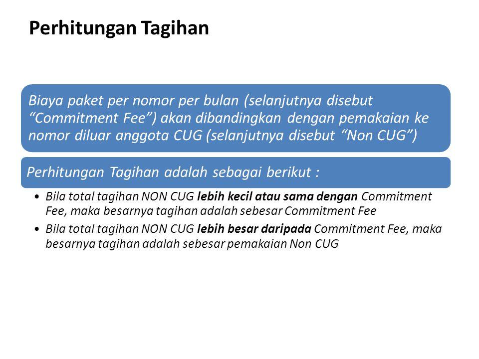 Perhitungan Tagihan Biaya paket per nomor per bulan (selanjutnya disebut Commitment Fee ) akan dibandingkan dengan pemakaian ke nomor diluar anggota CUG (selanjutnya disebut Non CUG ) Perhitungan Tagihan adalah sebagai berikut : Bila total tagihan NON CUG lebih kecil atau sama dengan Commitment Fee, maka besarnya tagihan adalah sebesar Commitment Fee Bila total tagihan NON CUG lebih besar daripada Commitment Fee, maka besarnya tagihan adalah sebesar pemakaian Non CUG