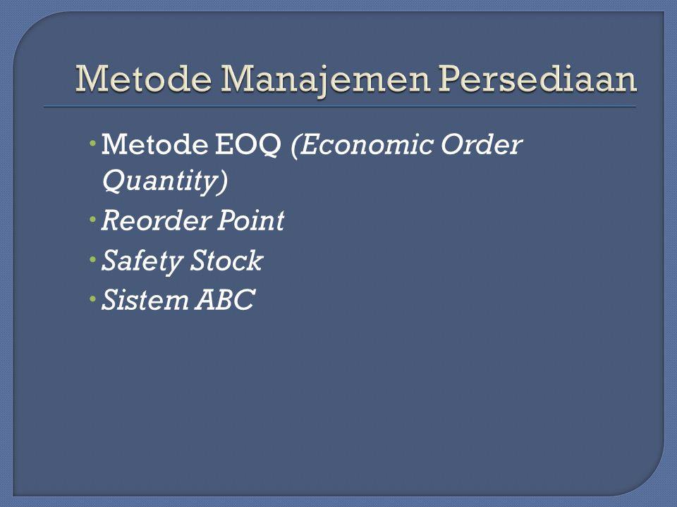  Metode EOQ (Economic Order Quantity)  Reorder Point  Safety Stock  Sistem ABC