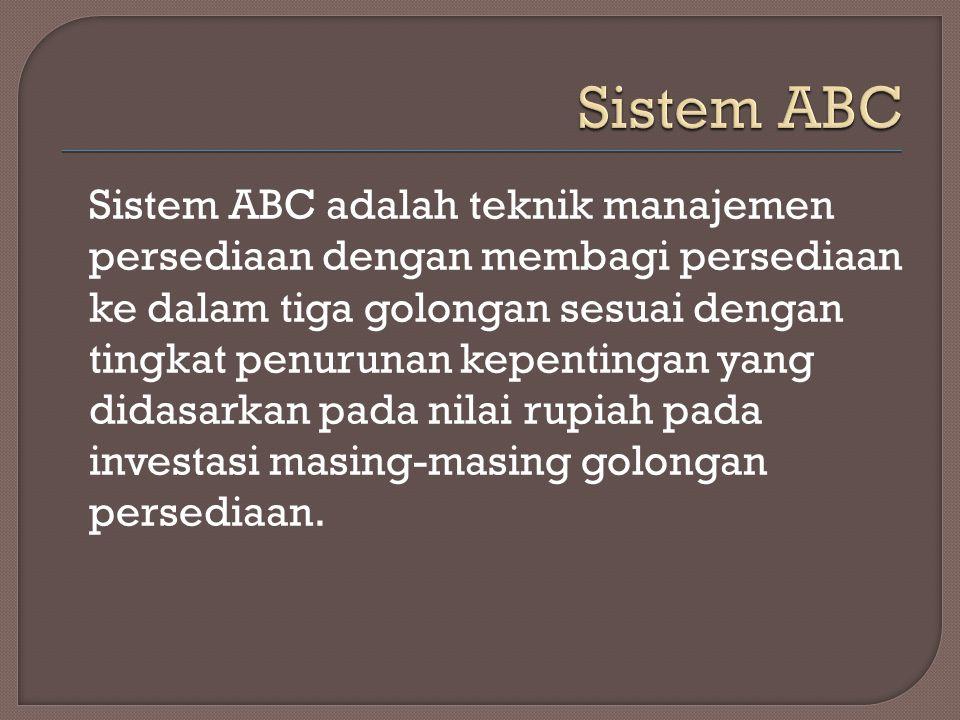 Sistem ABC adalah teknik manajemen persediaan dengan membagi persediaan ke dalam tiga golongan sesuai dengan tingkat penurunan kepentingan yang didasa