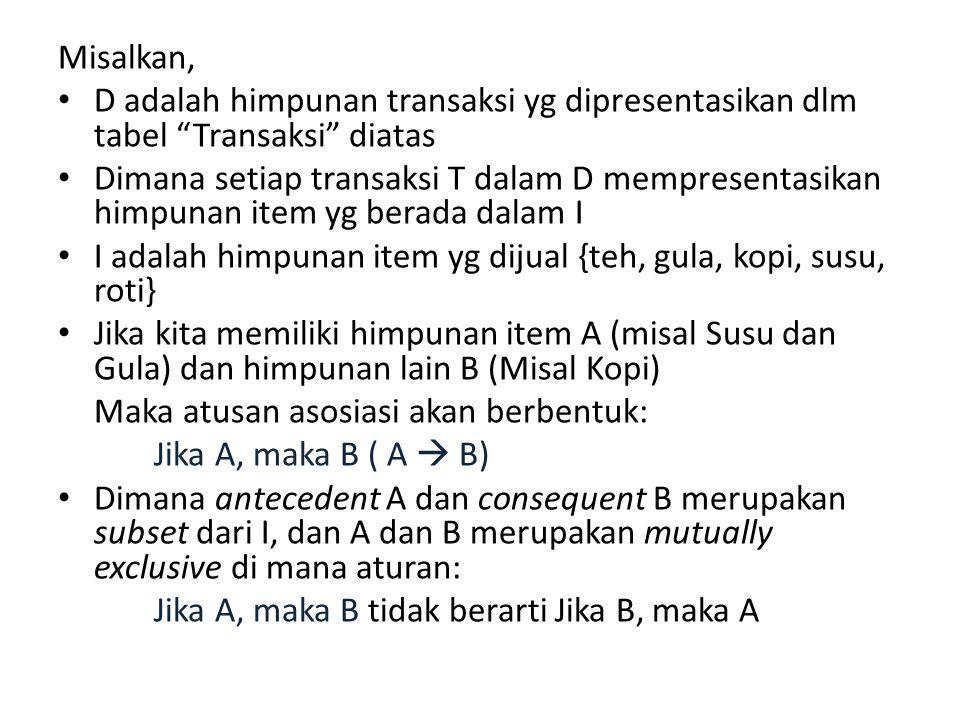 """Misalkan, D adalah himpunan transaksi yg dipresentasikan dlm tabel """"Transaksi"""" diatas Dimana setiap transaksi T dalam D mempresentasikan himpunan item"""
