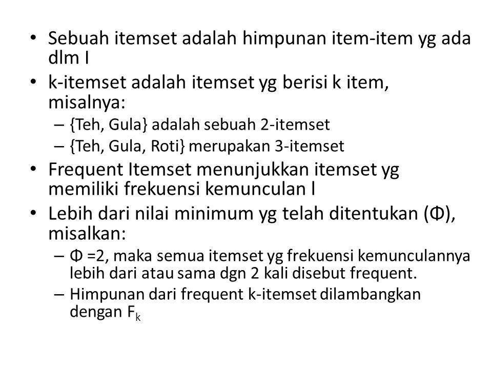 Sebuah itemset adalah himpunan item-item yg ada dlm I k-itemset adalah itemset yg berisi k item, misalnya: – {Teh, Gula} adalah sebuah 2-itemset – {Te