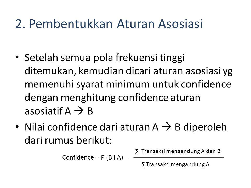 2. Pembentukkan Aturan Asosiasi Setelah semua pola frekuensi tinggi ditemukan, kemudian dicari aturan asosiasi yg memenuhi syarat minimum untuk confid