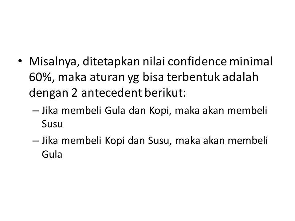 Misalnya, ditetapkan nilai confidence minimal 60%, maka aturan yg bisa terbentuk adalah dengan 2 antecedent berikut: – Jika membeli Gula dan Kopi, mak