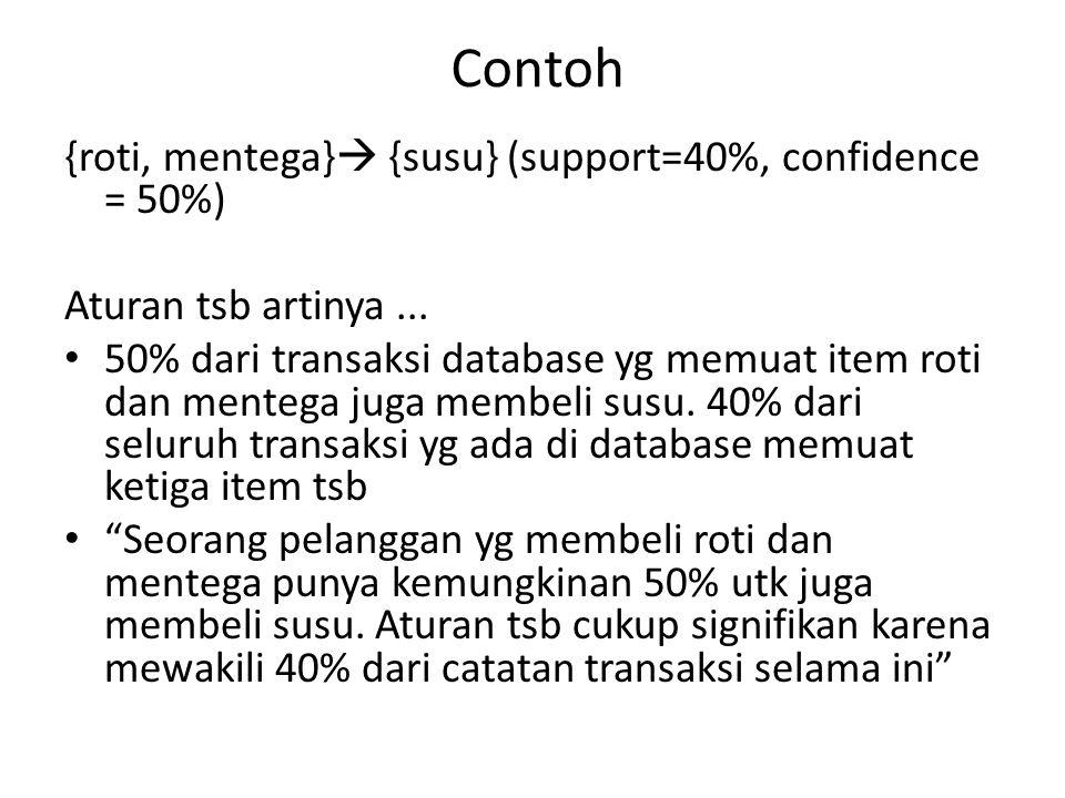 Contoh {roti, mentega}  {susu} (support=40%, confidence = 50%) Aturan tsb artinya... 50% dari transaksi database yg memuat item roti dan mentega juga