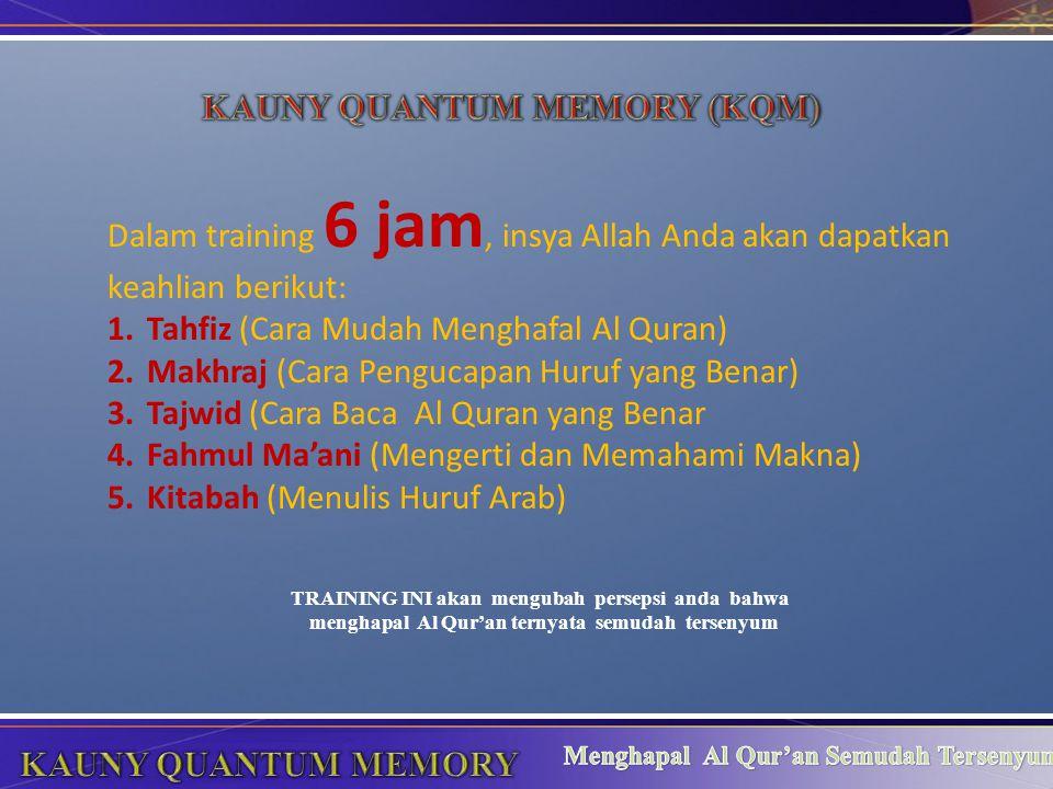 TRAINING INI akan mengubah persepsi anda bahwa menghapal Al Qur'an ternyata semudah tersenyum Dalam training 6 jam, insya Allah Anda akan dapatkan kea