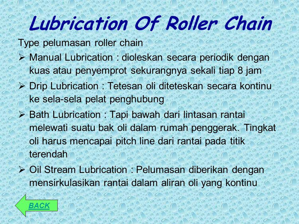 Lubrication Of Roller Chain Type pelumasan roller chain  Manual Lubrication : dioleskan secara periodik dengan kuas atau penyemprot sekurangnya sekal
