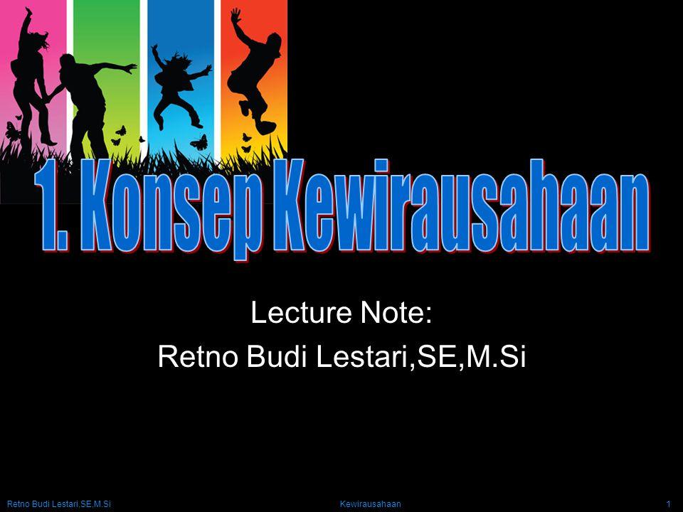 Retno Budi Lestari,SE,M.Si Kewirausahaan1 Lecture Note: Retno Budi Lestari,SE,M.Si
