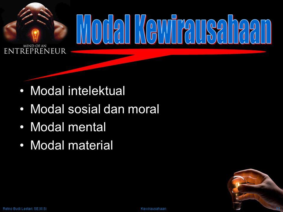 Retno Budi Lestari, SE,M.Si Kewirausahaan11 Modal intelektual Modal sosial dan moral Modal mental Modal material