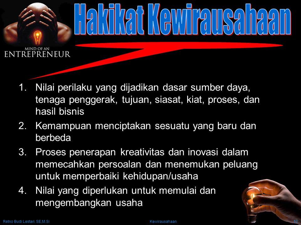 Retno Budi Lestari, SE,M.Si Kewirausahaan13 1.Nilai perilaku yang dijadikan dasar sumber daya, tenaga penggerak, tujuan, siasat, kiat, proses, dan has
