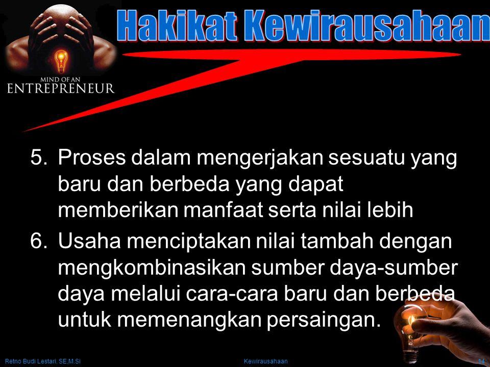 Retno Budi Lestari, SE,M.Si Kewirausahaan14 5.Proses dalam mengerjakan sesuatu yang baru dan berbeda yang dapat memberikan manfaat serta nilai lebih 6