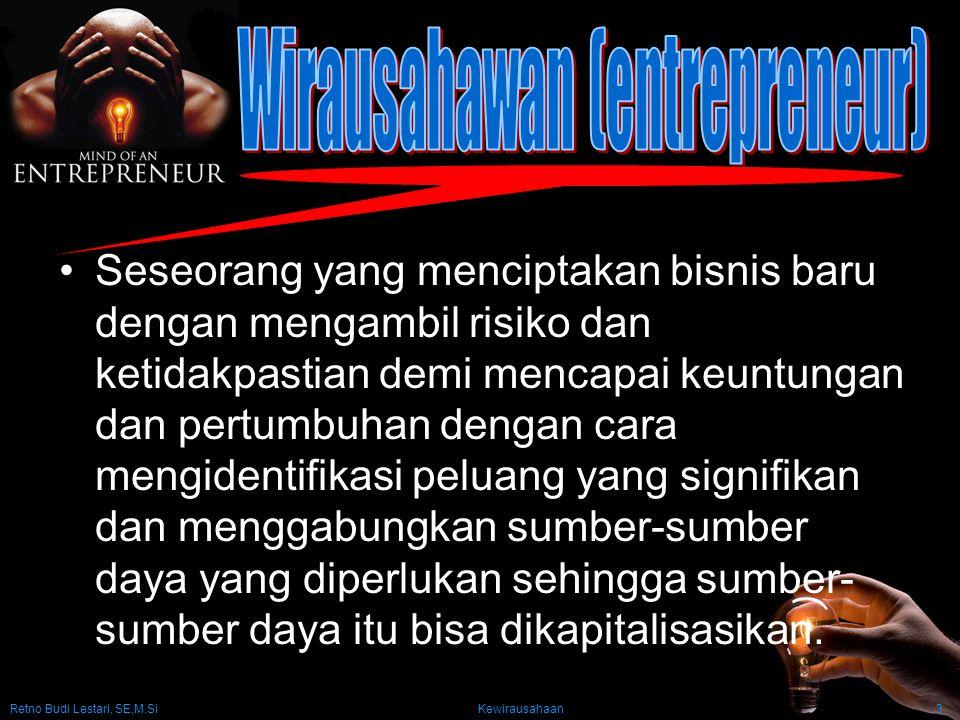 Retno Budi Lestari, SE,M.Si Kewirausahaan3 Seseorang yang menciptakan bisnis baru dengan mengambil risiko dan ketidakpastian demi mencapai keuntungan