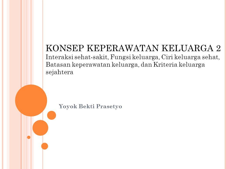 Yoyok Bekti Prasetyo KONSEP KEPERAWATAN KELUARGA 2 Interaksi sehat-sakit, Fungsi keluarga, Ciri keluarga sehat, Batasan keperawatan keluarga, dan Kriteria keluarga sejahtera