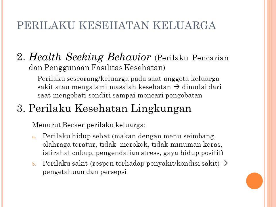 2. Health Seeking Behavior (Perilaku Pencarian dan Penggunaan Fasilitas Kesehatan) Perilaku seseorang/keluarga pada saat anggota keluarga sakit atau m