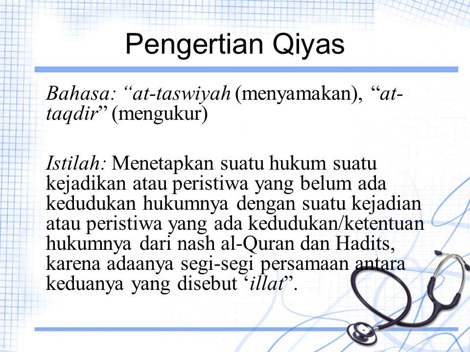 """Pengertian Qiyas Bahasa: """"at-taswiyah (menyamakan), """"at- taqdir"""" (mengukur) Istilah: Menetapkan suatu hukum suatu kejadikan atau peristiwa yang belum"""