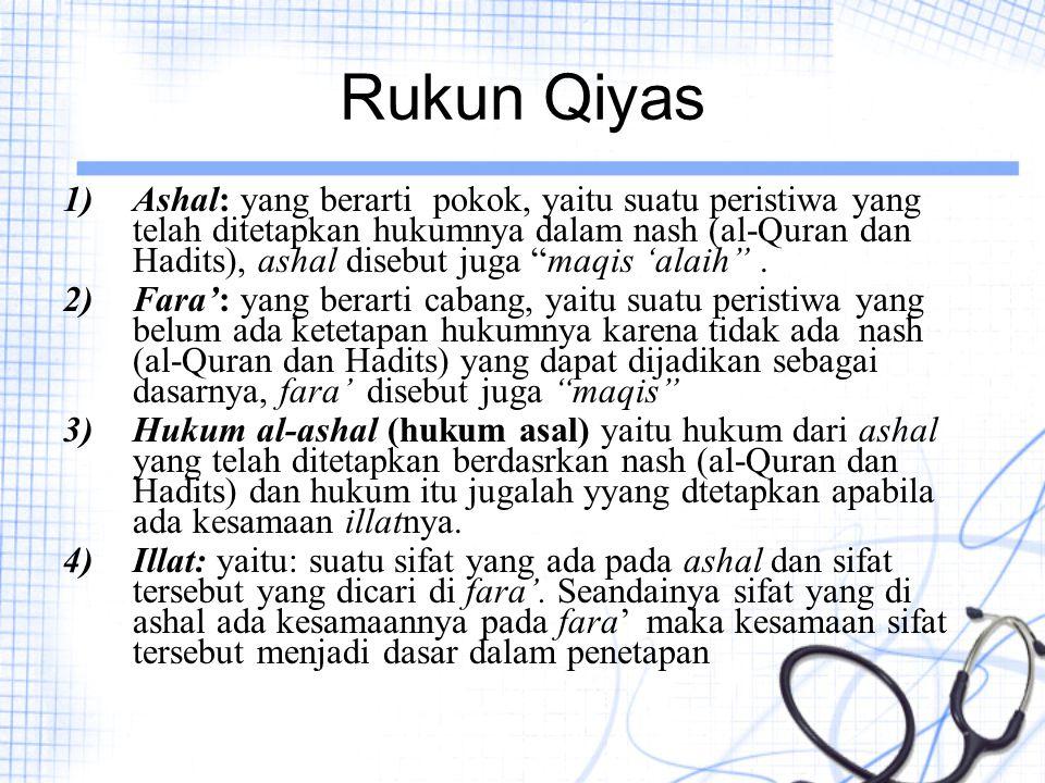 """Rukun Qiyas 1)Ashal: yang berarti pokok, yaitu suatu peristiwa yang telah ditetapkan hukumnya dalam nash (al-Quran dan Hadits), ashal disebut juga """"ma"""
