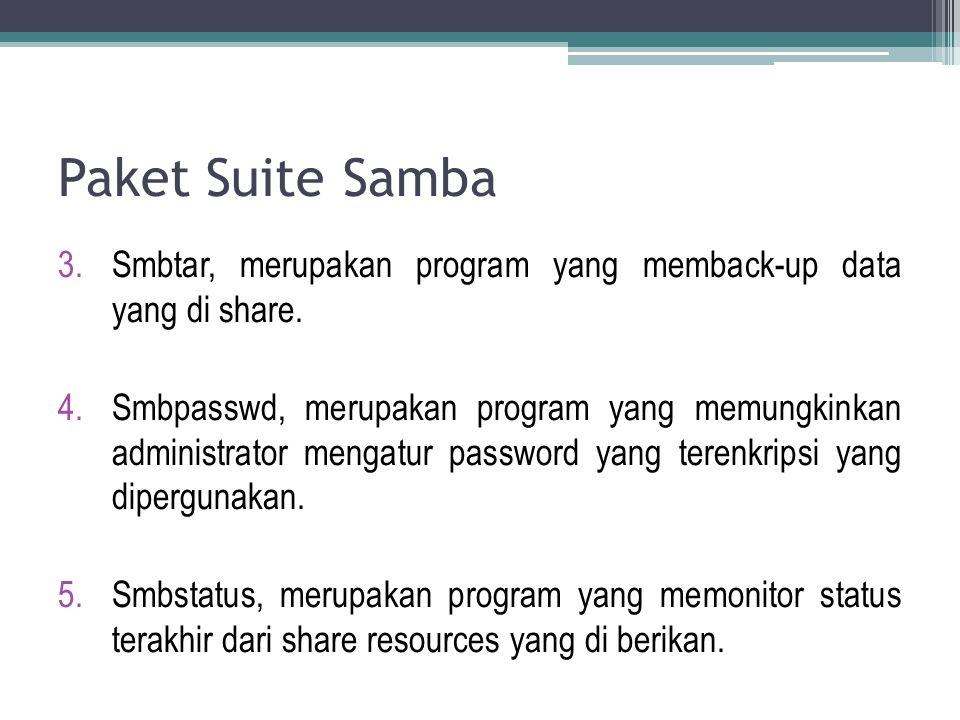 Paket Suite Samba 3.Smbtar, merupakan program yang memback-up data yang di share. 4.Smbpasswd, merupakan program yang memungkinkan administrator menga