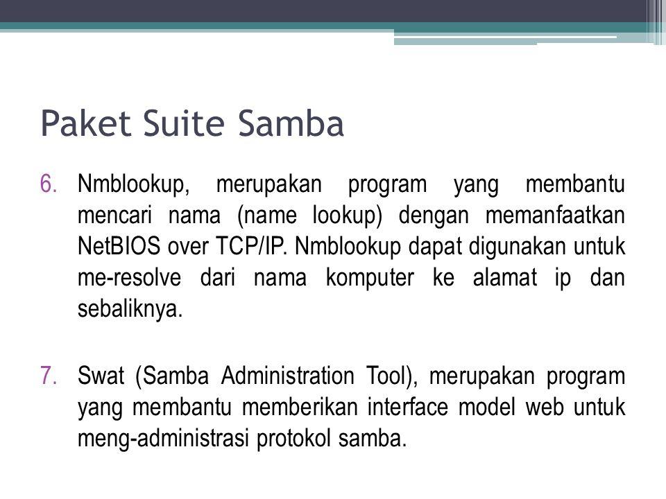 Paket Suite Samba 6.Nmblookup, merupakan program yang membantu mencari nama (name lookup) dengan memanfaatkan NetBIOS over TCP/IP. Nmblookup dapat dig