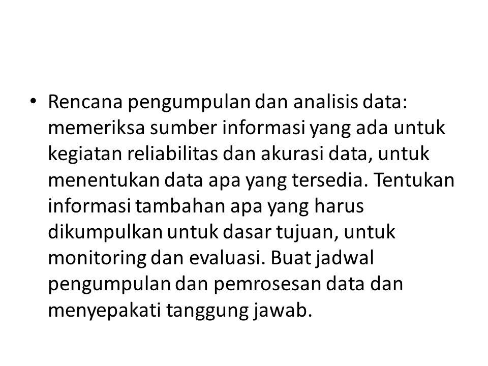 Rencana pengumpulan dan analisis data: memeriksa sumber informasi yang ada untuk kegiatan reliabilitas dan akurasi data, untuk menentukan data apa yan