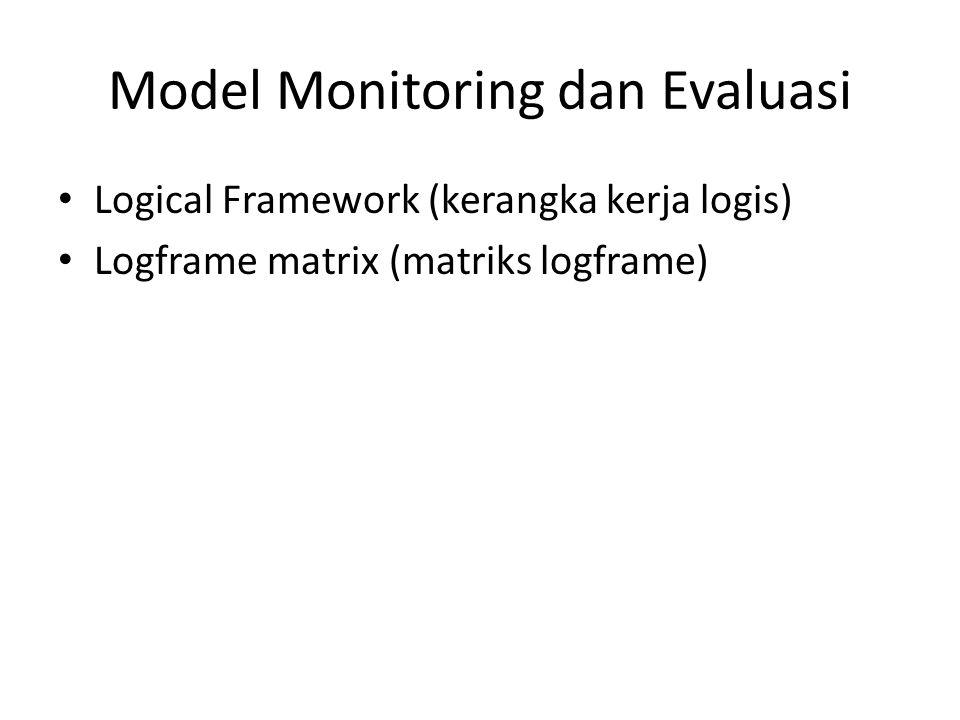 Model Monitoring dan Evaluasi Logical Framework (kerangka kerja logis) Logframe matrix (matriks logframe)