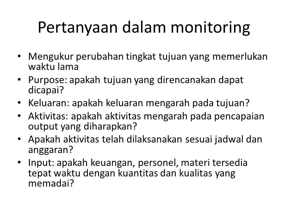 Pertanyaan dalam monitoring Mengukur perubahan tingkat tujuan yang memerlukan waktu lama Purpose: apakah tujuan yang direncanakan dapat dicapai? Kelua