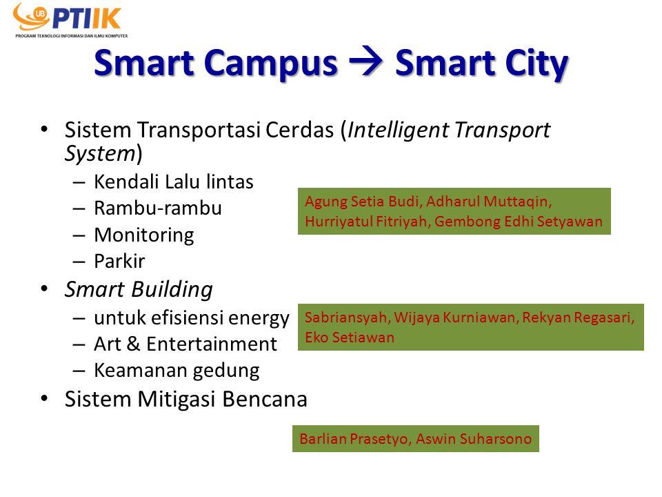 Smart Campus  Smart City Sistem Transportasi Cerdas (Intelligent Transport System) – Kendali Lalu lintas – Rambu-rambu – Monitoring – Parkir Smart Bu