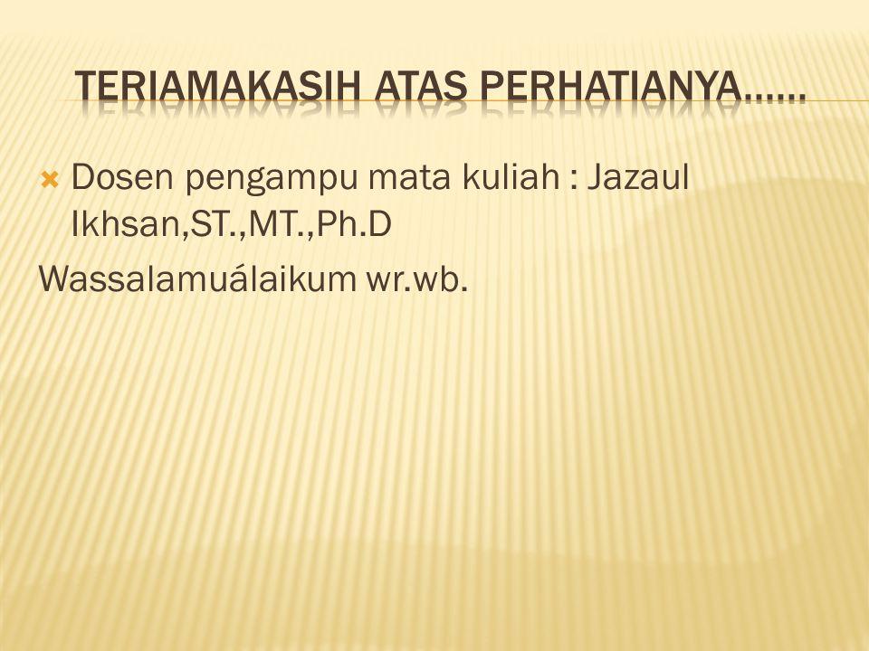 Dosen pengampu mata kuliah : Jazaul Ikhsan,ST.,MT.,Ph.D Wassalamuálaikum wr.wb.