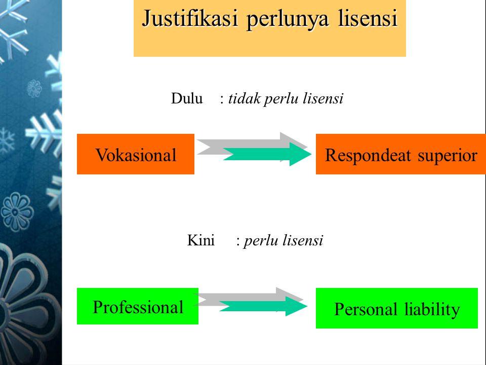 Justifikasi perlunya lisensi VokasionalRespondeat superior Professional Personal liability Kini: perlu lisensi Dulu: tidak perlu lisensi